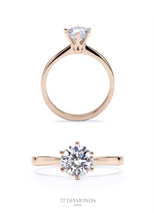 Delicate band, but with 4 prongs, not 6. Rose Gold. .5-1 carat diamond. = Perfec