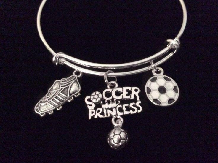 Soccer Princess Adjustable Bracelet Expandable Silver Charm Bangle Teenager Gift Soccer Ball Soccer Shoe