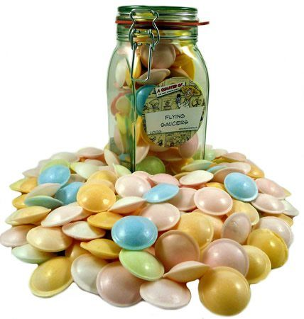 Flying Saucers in a Kilner Jar Flying Saucers in a Kilner Jar Sadly the sweetshop jar is dying out. More and more sweets coming in boxes... or ultra boring, personality-less 3kg plastic bags. How dull! So weve decided to fight back http://www.MightGet.com/january-2017-12/flying-saucers-in-a-kilner-jar.asp