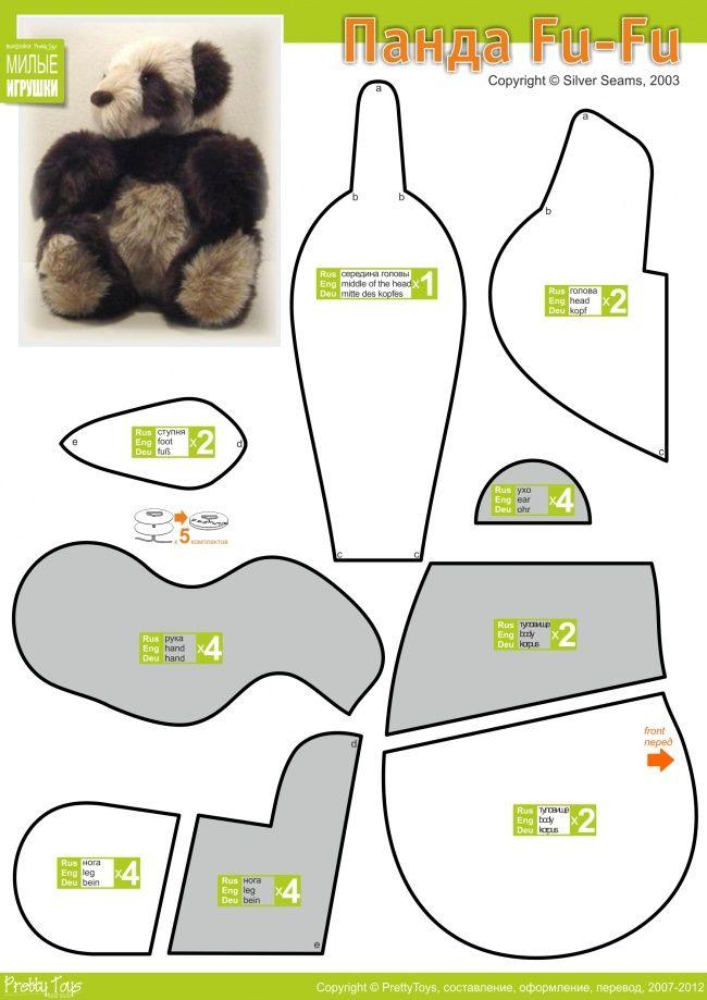 Панда Fu-Fu, Make a Kung Fu Panda Bear Stuffed Animal Pattern,  How to Make a Toy Animal Plushie Tutorial Plushies Tutorial , Animal Plushies, Softies & Furries Arts and Crafts, Diy Projects, Sewing Template , animals, plush, soft, plush, toy, pattern, template, sewing, diy , crafts, kawaii, cute, sew, pattern, critter,kids, baby, cuddly toy, panda pear handmade