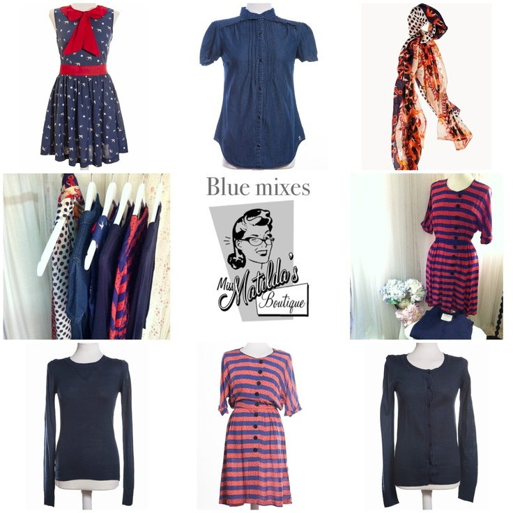 A selection of blue styles at Miss Matilda's online boutique including pretty dresses and a vintage inspired scarf with an anchor print.