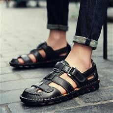 US $31.09  <Click to buy> Prelesty 2018 Summer Mens Leather Sandals Gladiator Casual Strap Beach Slide Shoes Open Toe Breathable Waterproof Holes #beachsandals