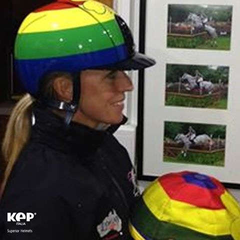 PRESENTING MEGAN JONES AND HER NEW CROSS COUNTRY HELMET! It's quite special, what do you think??!  #colors #kep #helmet #protection #superior #MeganJonesEventingTeam #eventing #likeateam