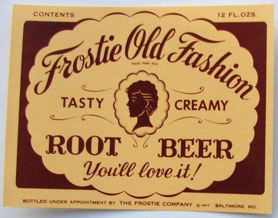 FROSTIE OLD FASHION, Vintage Root Beer Bottle Labelwww.thelabelman.com