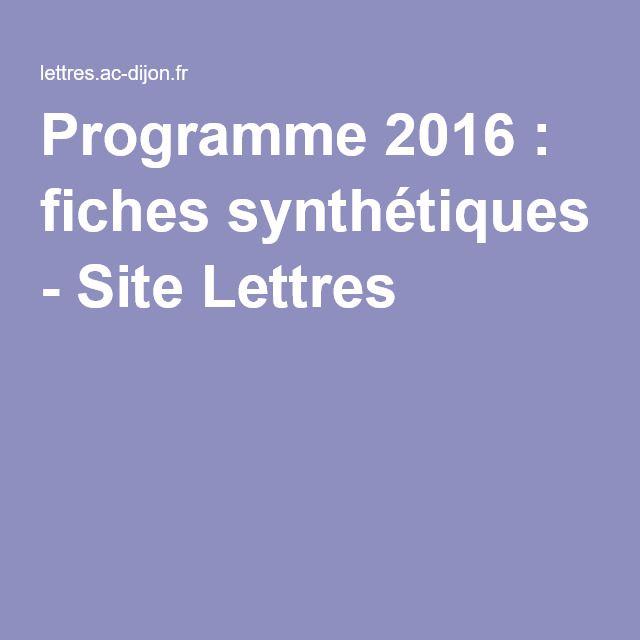 Programme 2016 : fiches synthétiques - Site Lettres