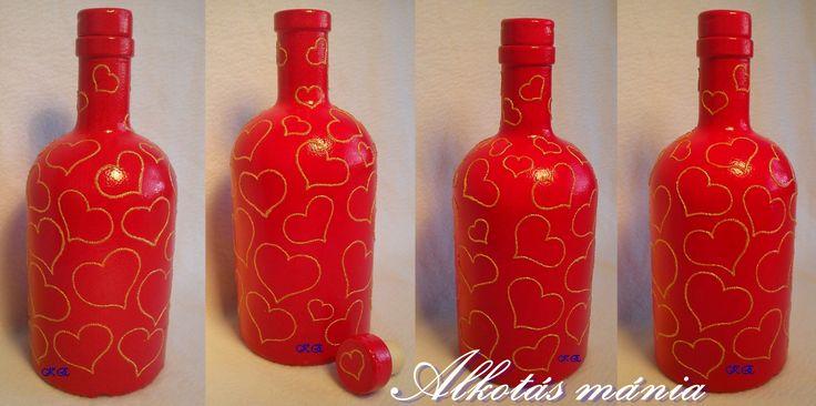#szívecskés##szerelem##palack##ajándék##ünnep##alkotásmánia##festett#
