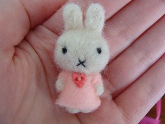 Tiny felted Miffy.