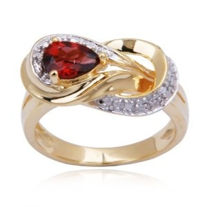 18k Yellow Gold Plated Sterling Silver Garnet and Diamond-Accent Knot Ring, Size 8