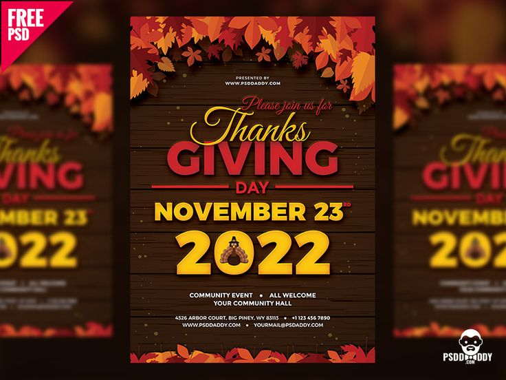 Thanksgiving Flyer Free PSD by Free Download PSD