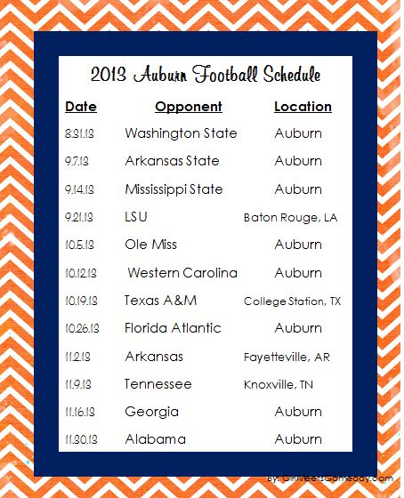 2013 Auburn University Football Schedule PDF