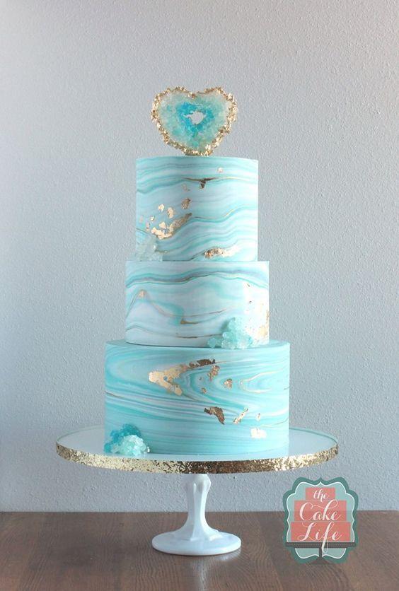 Light Blue Geode Birthday Cake   Geode Cake ideas