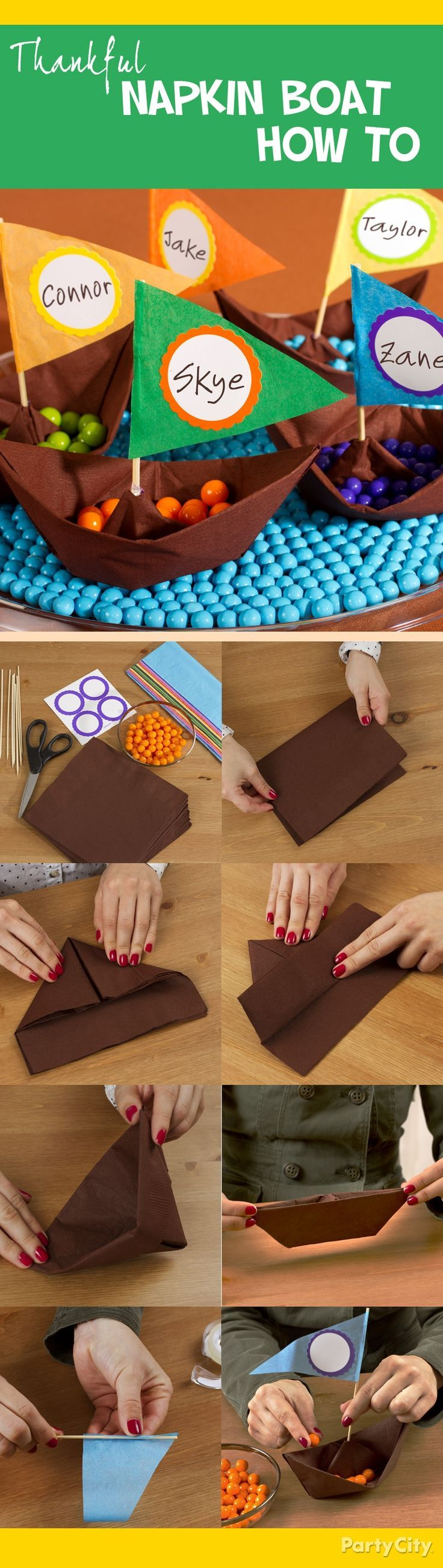 Make napkin paper boats with this step-by-step napkin folding tutorial! Perfect as mini Mayflowers for your Thanksgiving party.