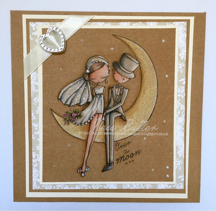 All dressed up stamps/ digi/ over the moon/ image/ Kraft card/ card making/ Polychromos pencils/ Ness Butler