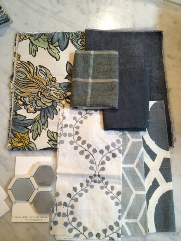 Meredith Heron Design #InglewoodDr project - Family Room fabric scheme