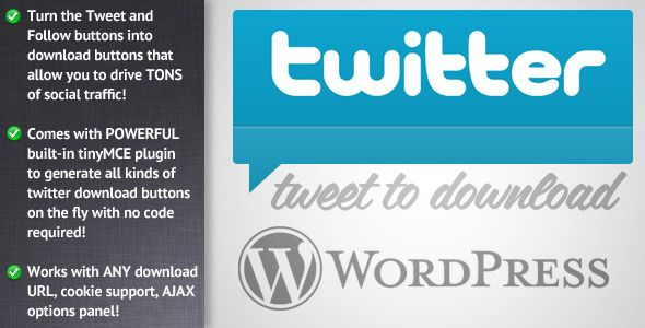 Tweet to Download for WordPress   http://codecanyon.net/item/tweet-to-download-for-wordpress/1480224?ref=damiamio       Tweet to Download for WordPress is here! Turn the Tweet and Follow buttons into a social download system for your site and drives tons of new social traffic and backlinks to your WordPress websites! More Tweets = More Traffic = More $$$$$$ 	     Features   Works with both the Tweet and Follow buttons!  Built in tinyMCE toolbar plugin allows you to quickly and easily create…