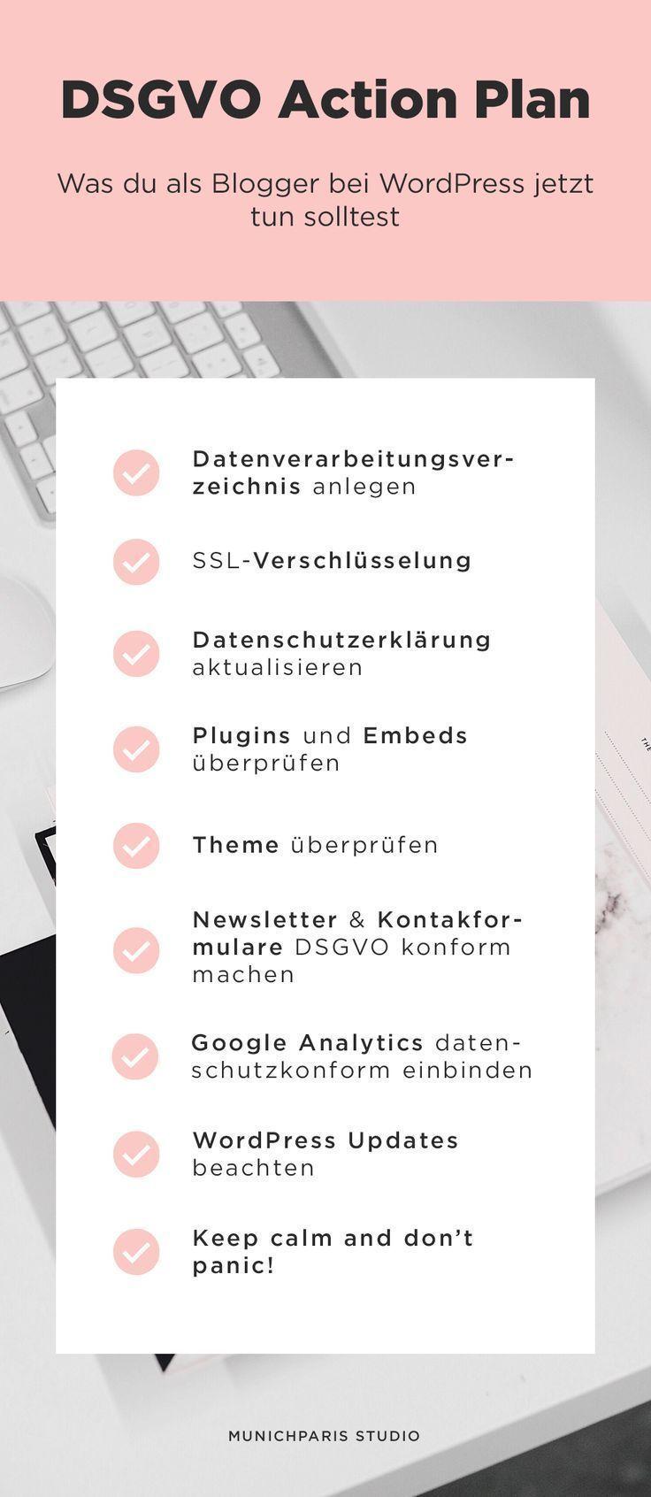 Die Dsgvo Wordpress Checkliste Fur Blogger Munichparis Studio In 2020 Blog Erstellen Blog Starten Blog Tipps