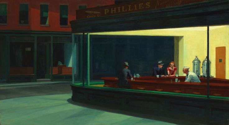 Nighthawks, by Edward Hopper, 1942. Oil on canvas. Art Institute of Chicago, Chicago (Friends of American Art Collection).