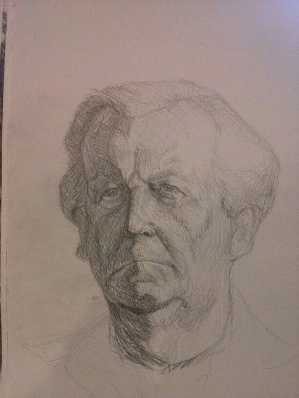 man portrait, study, life drawing class. graphite pencil