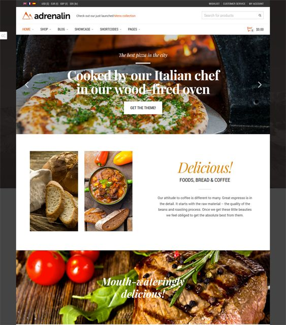 This restaurant theme for WordPress features a responsive layout, Visual Composer, WooCommerce and WPML support, a Bootstrap framework, a premium slider, unlimited colors, RTL language support, and more.