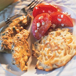 Chicken With Peppercorn Sauce, Garlic Potato Cakes and Tomato Salad - really simple weeknight meal - i use mozzarella instead of feta in the tomato salad.