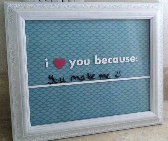 This could be done in many ways -- put any materials in the frame and use the glass as a dry erase board. Would be fun for a mom to have one for each kid.