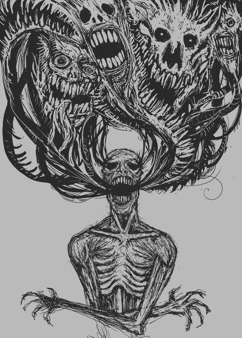 "Way too dark for me, but still a good ""inner demons"" type illustration"