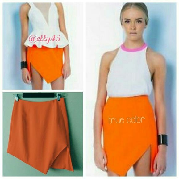 🌞🎉HP🎊 Keepsake / Orange Skirt 🎊🎊Total Trendsetter Party Host Pick chosen by @iqclothessaavy on 3/13/16🎊🎊  Beautiful bright neon orange skirt. Mini length. Actual color is on the model and doesn't come through in my pictures. Smoke/pet-free home. ✈ Fast Shipping ✈  💞Thanks for browsing my closet!💞 Anthropologie Skirts Asymmetrical