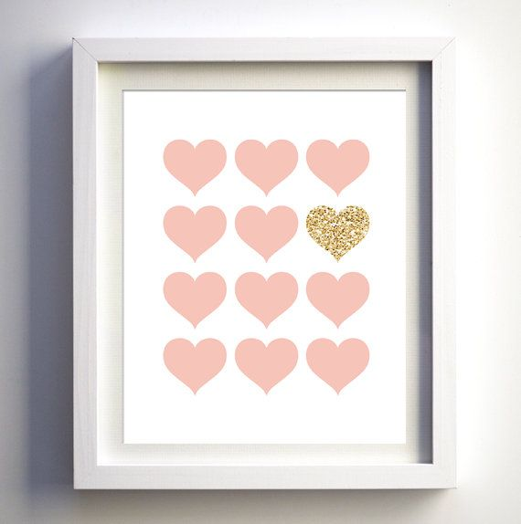 Pink and glitter prints nursery wall art, pink and glitter hearts instant download glitter nursery printable art gold pink hearts girls room