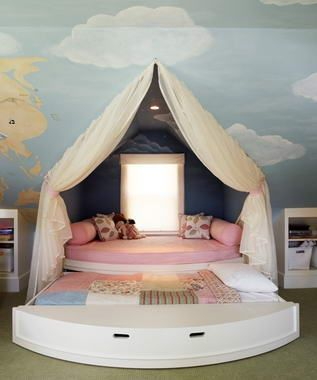 I love this as an idea for a kids room - gives them some extra privacy and makes for fun decor