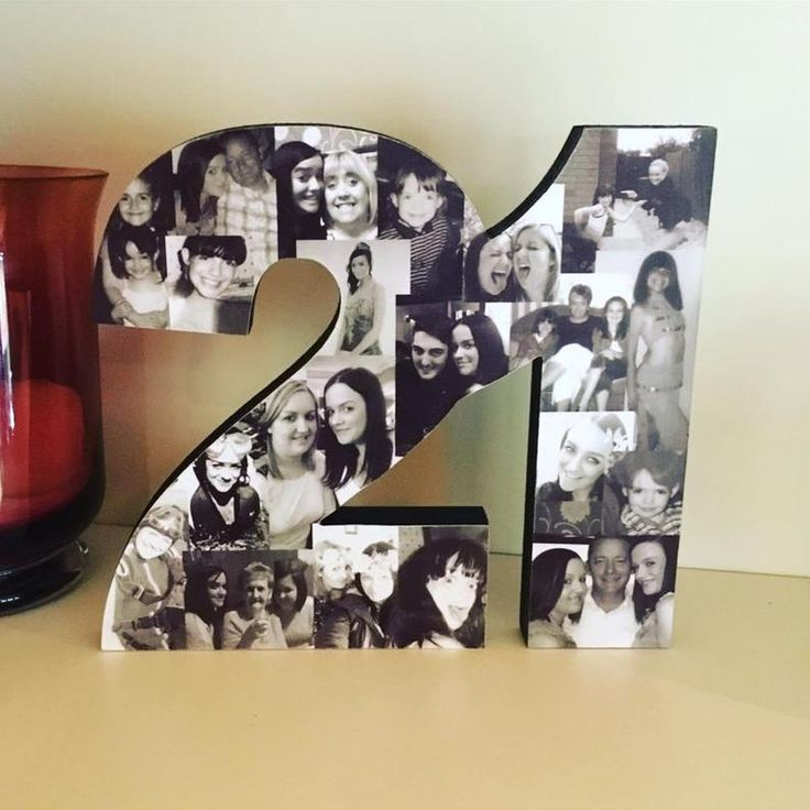 Freestanding Double Photo Number Photo Collage Birthday