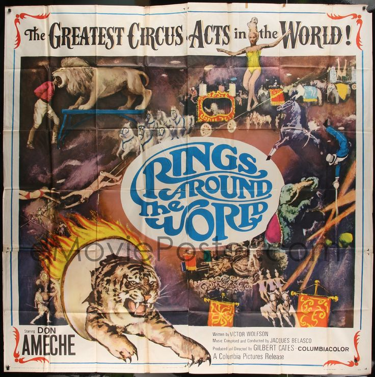 eMoviePoster.com Image For: 7t084 RINGS AROUND THE WORLD 6sh 1966 Don Ameche, montage of the greatest circus acts in the world!