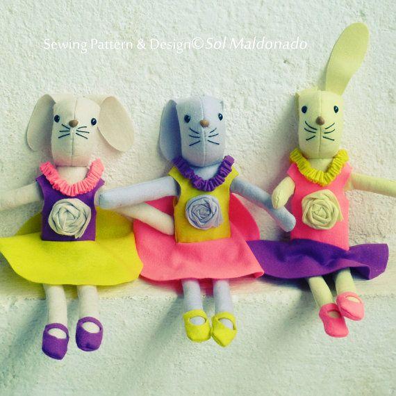 Rabbit Toy Sewing Pattern  felt tutorial PDF ballerina easter bunnies doll