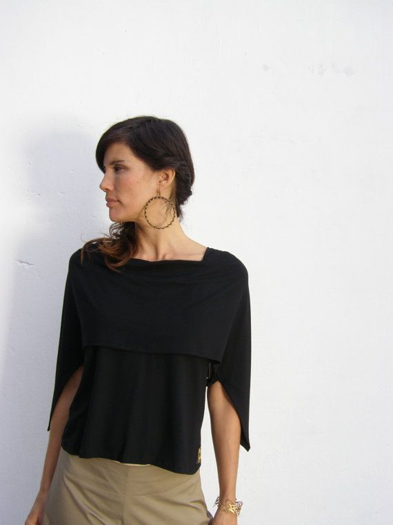 Black convertible  womens top - 3  ways to wear your summer cape top-Womens  plus size top-womens shirt-womens blouse-Summer womens  top