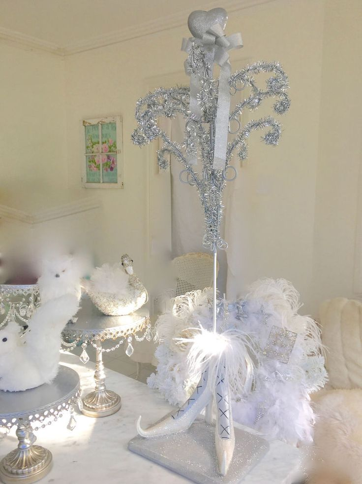 Shabby Vintage Silver Tinsel Chic French Boot Table Display Christmas Tree Stand