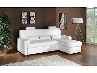 White Modena Corner Sofa Bed