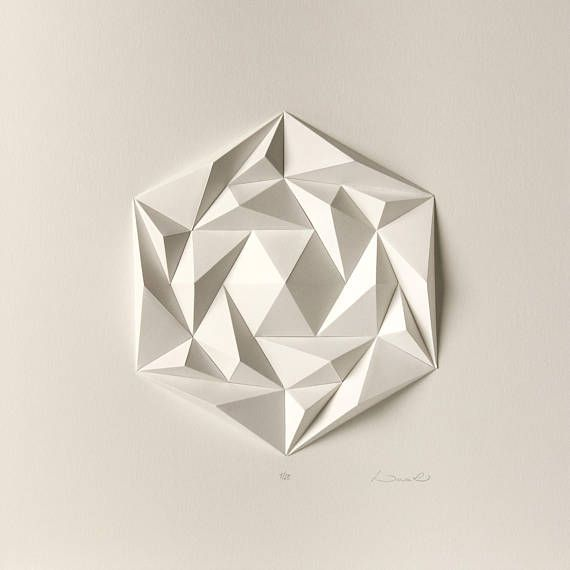 Icosa3M4 White Wall Art Folded Paper Crystal Mosaic Relief Modern Geometric Abstract Sculpture Created by Kubo Novak