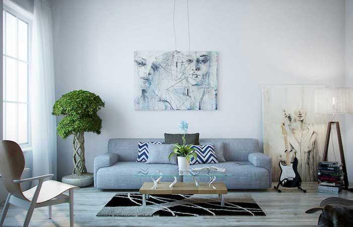 was passt zu grau wohnraum modern einrichten gr ner baum k nstliche blumen my art my home. Black Bedroom Furniture Sets. Home Design Ideas