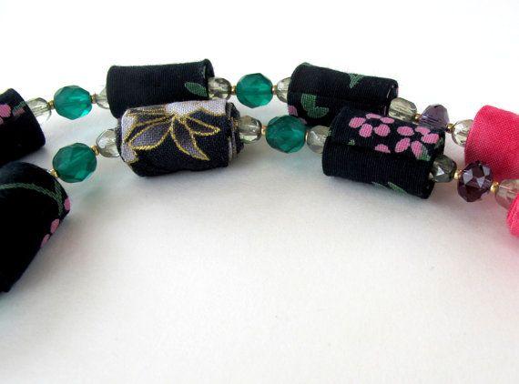 Night garden fiber necklace by Gilgulim on Etsy, $39.00