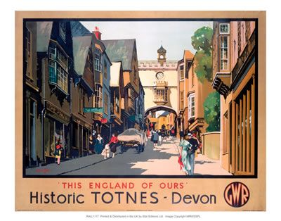 Buy from www.vintagerailposters.co.uk #Vintage #Rail #Train #Poster #Print #Art #Vintage #Old #Classic #British #Britain #UK #Travel #Railway #Posters #Gifts #Devon #Totnes