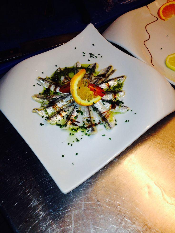 Anchois et caviard d'aubergine