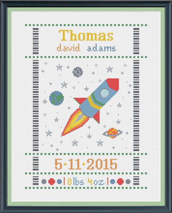 cross stitch birth sampler rocket, birth announcement by Happinesst
