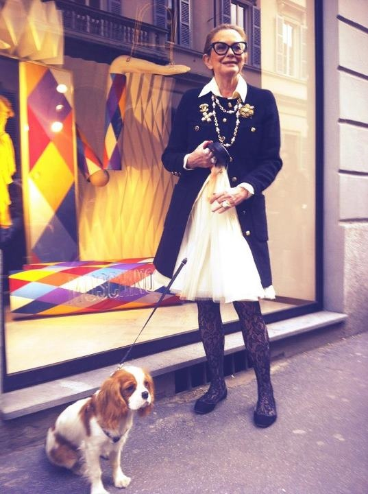 Moschino Creative Director Rossella Jardini and Charlie at the Moschino boutique in Milan