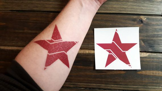 Get in touch with your inner Bucky Barnes with this awesome temporary tattoo! Perfect for cosplay or every day, this bold red star is sized just right to slap on your shoulder to show your affiliation and support for everybodys favorite brainwashed assassin.  My original design was printed by a reputable temporary tattoo manufacturer for a high-quality, long-lasting piece of body art. (Like all temporary tattoos, its not recommended for anyone with very sensitive skin or sensitivities to…