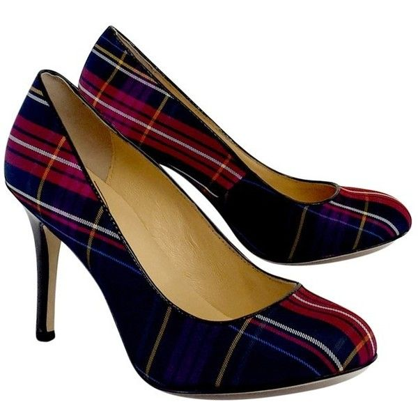 Pre-owned Kate Spade MultiColor Plaid Pumps ($120) ❤ liked on Polyvore featuring shoes, pumps, red, red high heel shoes, multi-color pumps, red pumps, high heel pumps and red shoes