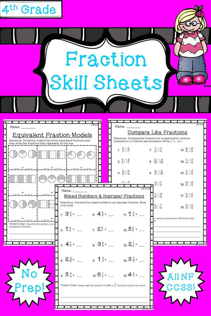 4th Grade Fraction Worksheets Pack All Nf Standards No