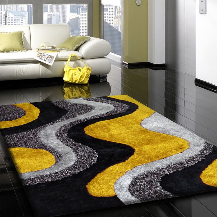 Wonderful Grey Shag Rug For Floor Decor Ideas: Black Yellow White Grey Shag Rug And White Sofa On Dark Wooden Floor Matched With White Wall For Living Room Decor Ideas