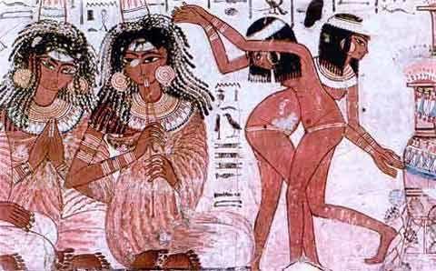 Fig. 8. Músicas y bailarinas. Tumba de Nakht en Tebas (dinastía XVIII).