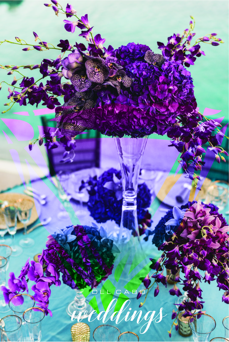 Beautiful receptions in purple and turquoise tones! Del Cabo Weddings will help you plan and create your destination wedding in Cabo!