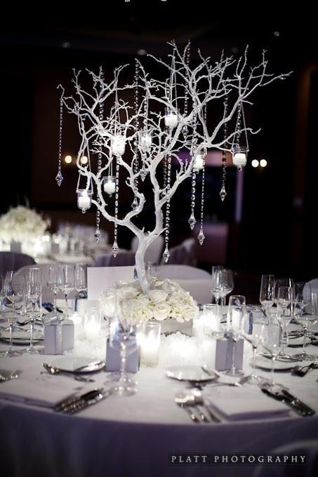 Jewel winter wedding centrepiece