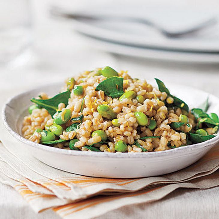 Pearl Barley with Peas and Edamame   Recipe with pearl barley, frozen edamame beans, frozen peas, spinach, worcestershire sauce, lemon zest, fresh lemon juice, sea salt